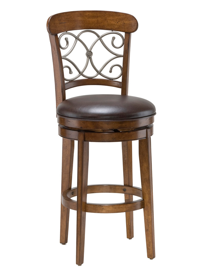 Hillsdale Bergamo Swivel Bar Stool - Medium Brown Cherry