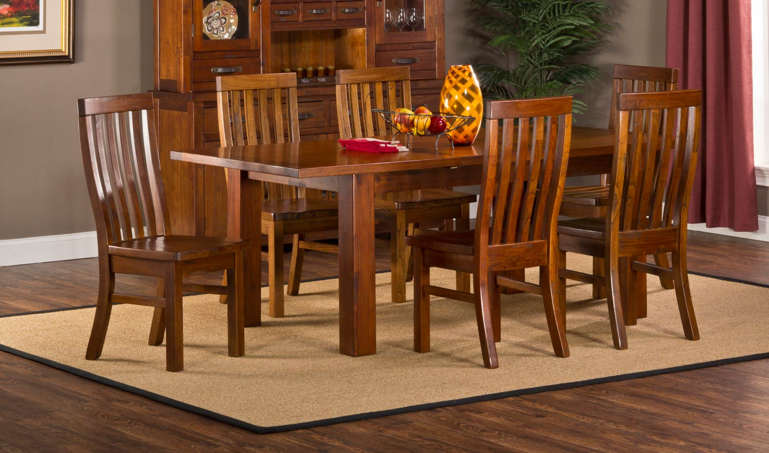 hillsdale outback 7 piece dining set distressed chestnut
