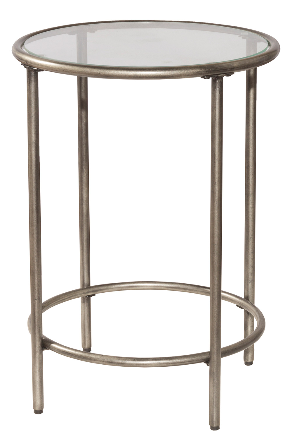Hillsdale Corbin End Table with Top Glass Shelf - Silver/Black