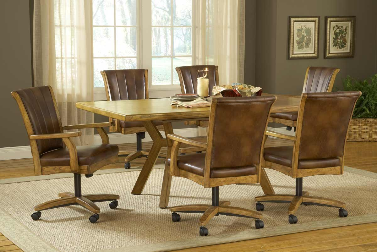 Hillsdale Grand Bay Rectangle Dining Set with Caster Chair - Oak