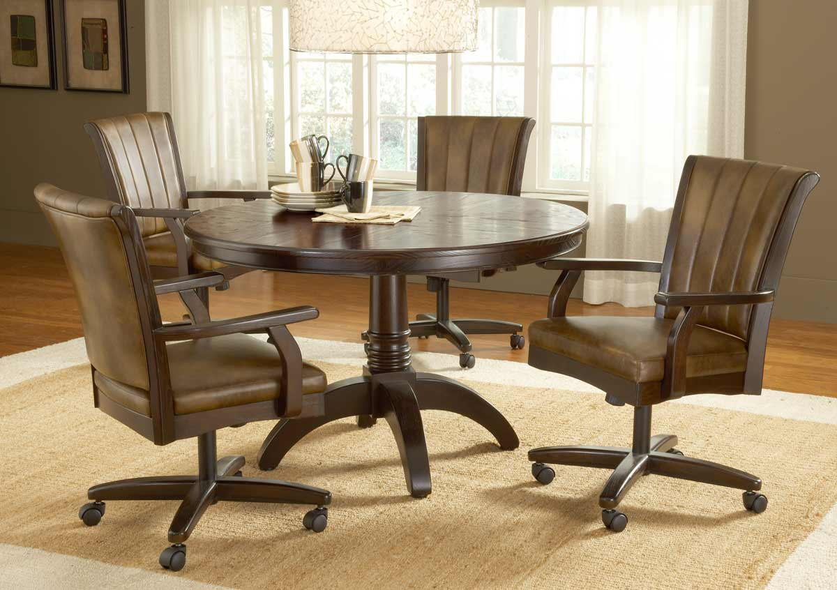 Hillsdale Grand Bay Round Dining Set with Caster Chair - Cherry