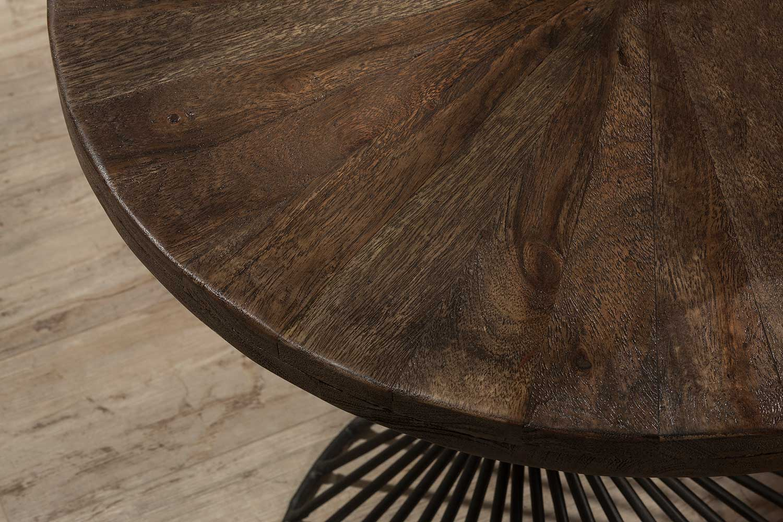 Hillsdale Kanister End Table - Walnut Wood/Dark Pewter Metal