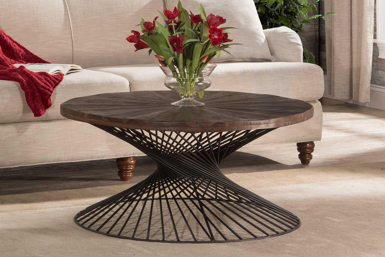 Hillsdale Kanister Coffee Table Walnut Wood Dark Pewter