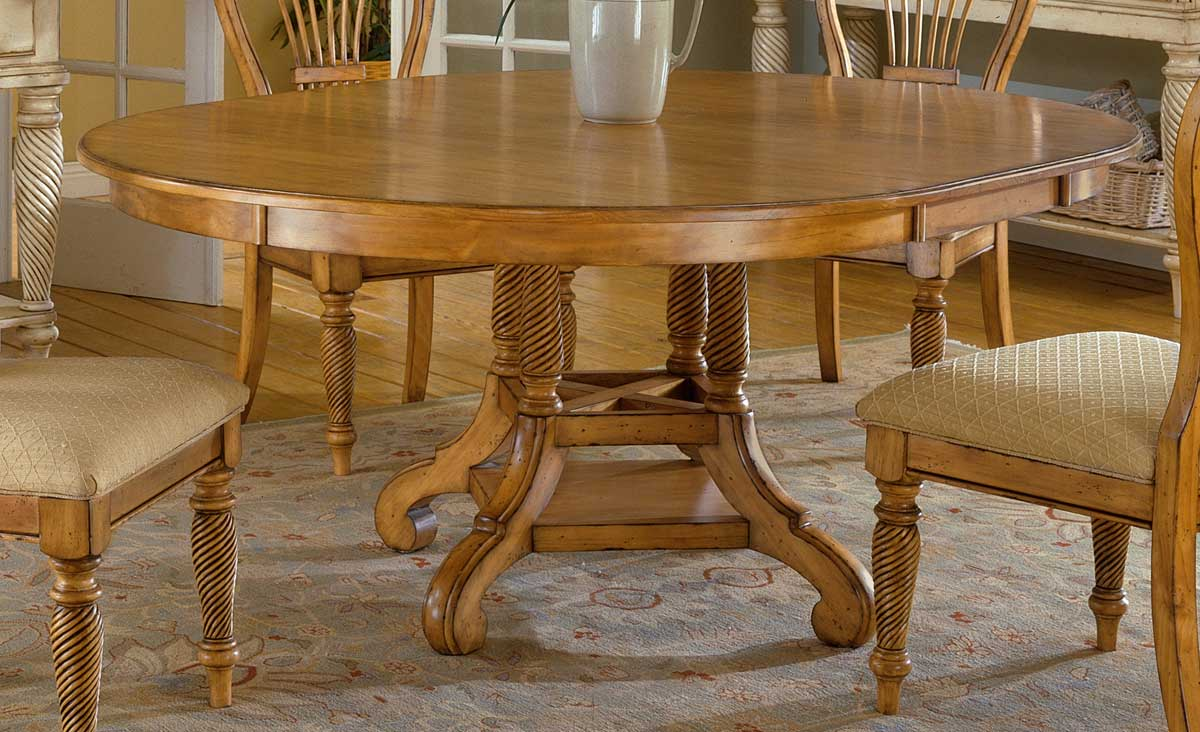 Cheap Hillsdale Furniture Wilshire Round Oval Dining Table – Antique Pine