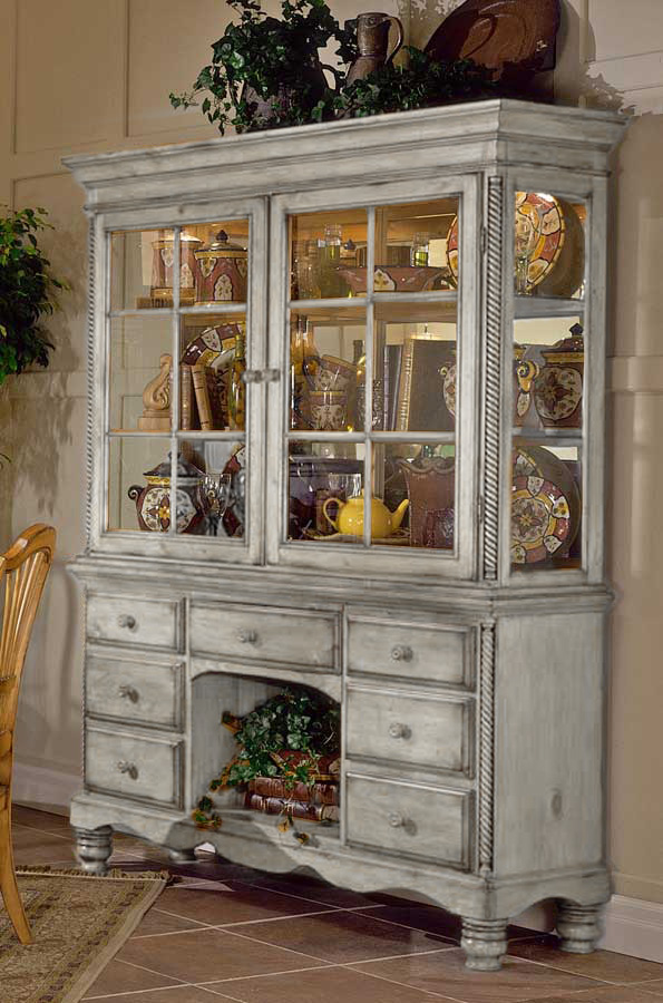 Hillsdale Wilshire Buffet and Hutch - Antique White