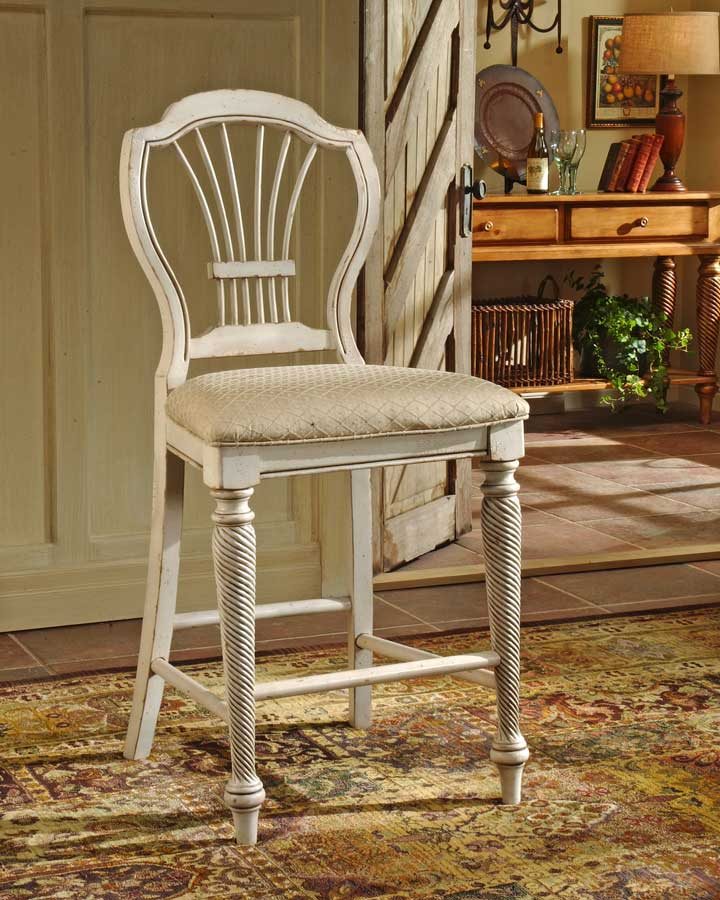Photo of Hillsdale Furniture Wilshire Non-swivel Counter Stool - Antique White (Dining Room Furniture, Dining Room Set, Counter Height Chairs, Pub Chairs, Pub Stools)