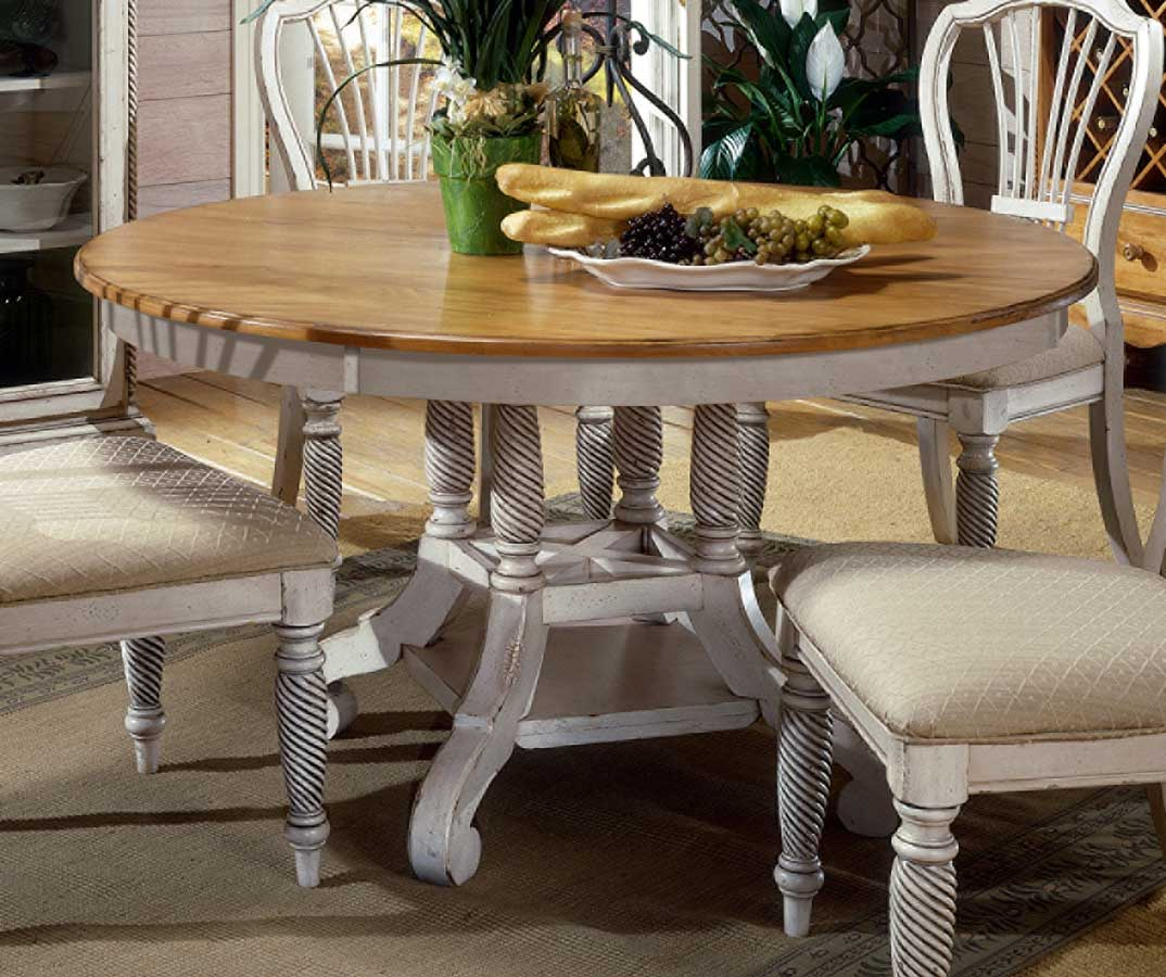 HD 4508 816 817 Wilshire Round Oval Dining Table Antique White 30H X