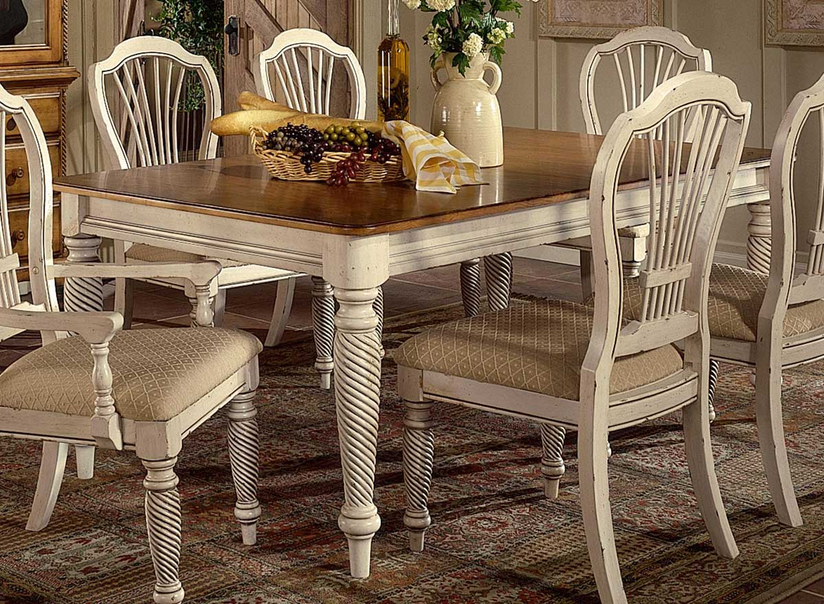 Hillsdale wilshire rectangular dining table antique for Antique dining room tables