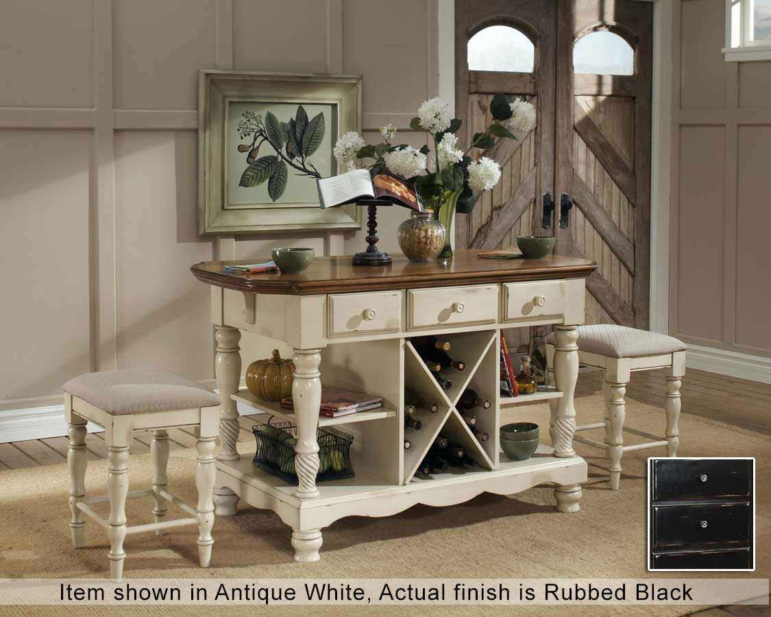 Hillsdale Wilshire Kitchen Island with Two Stools - Rubbed Black