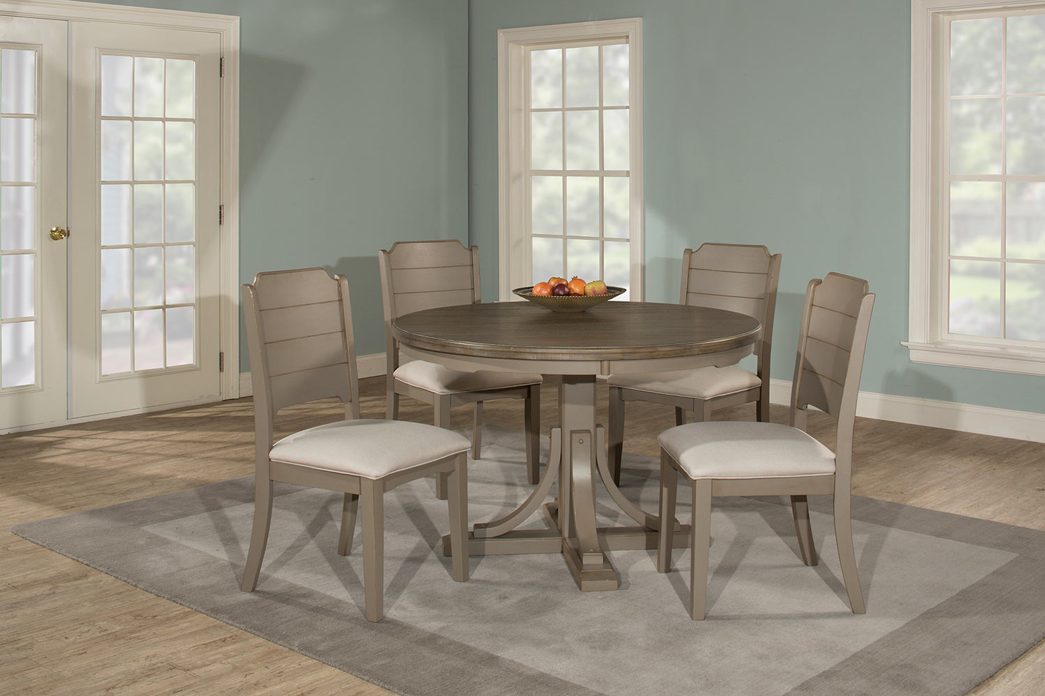 Hillsdale Clarion 5-Piece Round Dining Set with Side Chairs - Gray - Fog Fabric