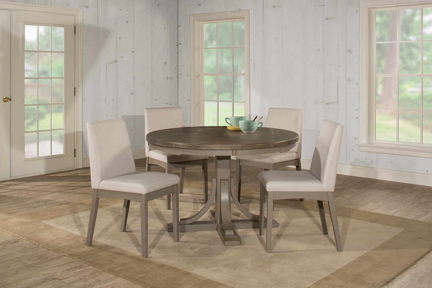 Hillsdale Clarion 5-Piece Round Dining Set with Upholstered Chairs - Gray - Fog Fabric