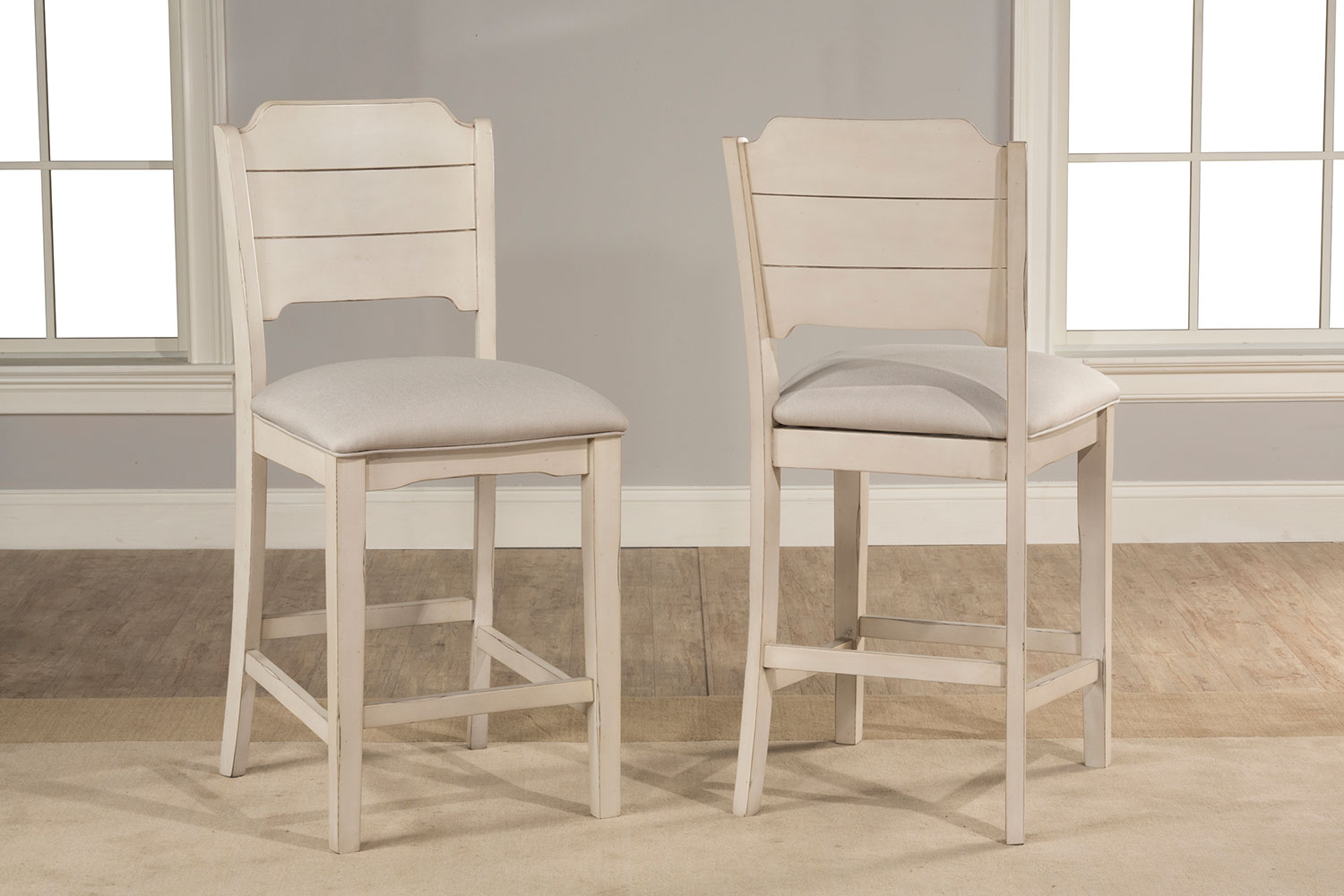 Hillsdale Clarion Non-Swivel Open Back Counter Height Stool - Sea White - Fog Fabric