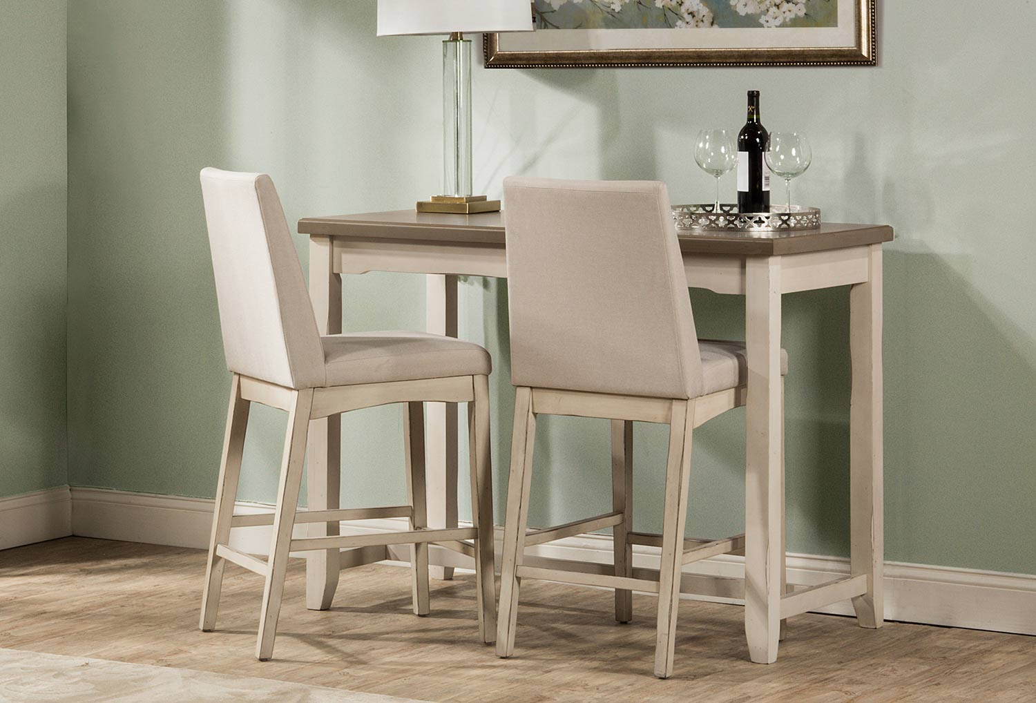 Hillsdale Clarion 3-Piece Counter Height Dining Set - Gray/White