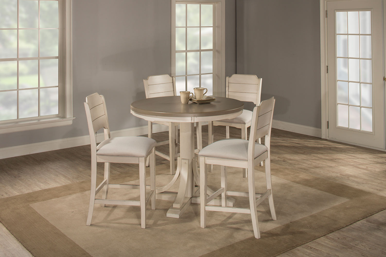 Hillsdale Clarion 5-Piece Round Counter Height Dining Set with Open Back Stools - Gray/White