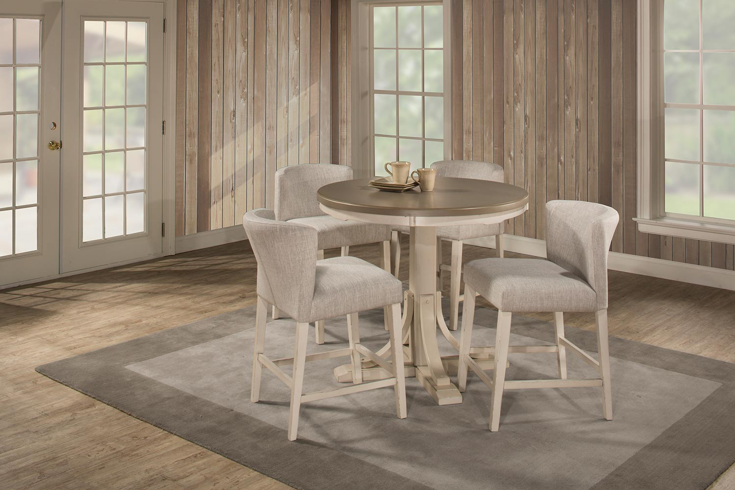 Hillsdale Clarion 5-Piece Round Counter Height Dining Set with Wing Arm Stools - Gray/White