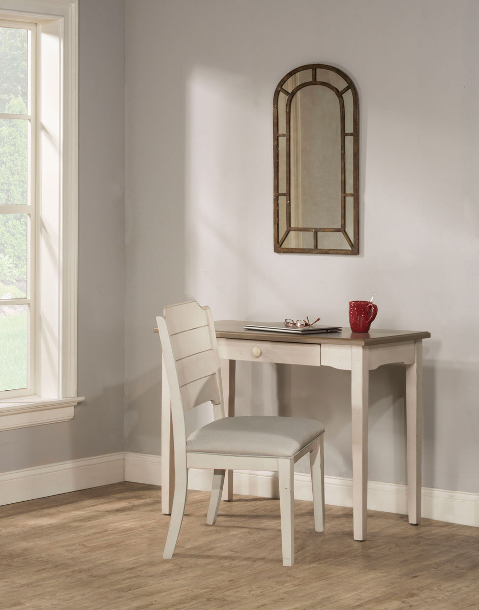Hillsdale Clarion Desk and Chair Set - Gray/White