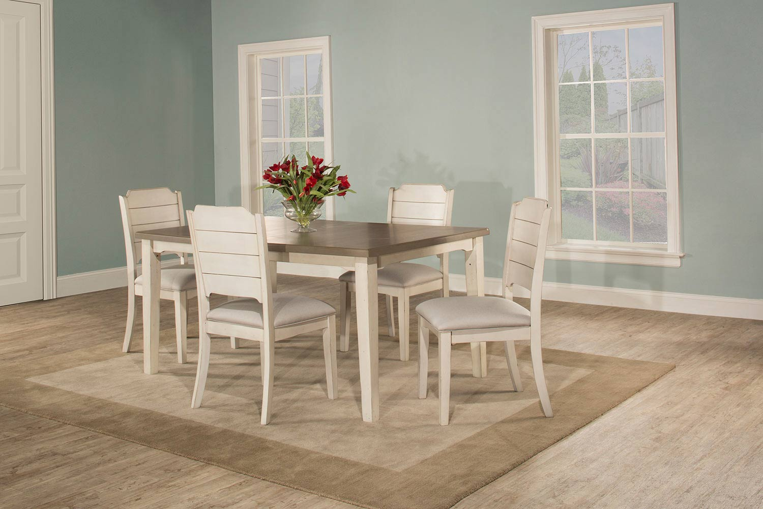 Hillsdale Clarion 5-Piece Rectangle Dining Set with Side Chairs - Sea White - Fog Fabric