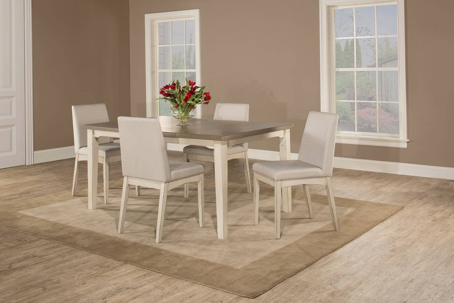 Hillsdale Clarion 5-Piece Rectangle Dining Set with Upholsted Chairs - White - Fog Fabric