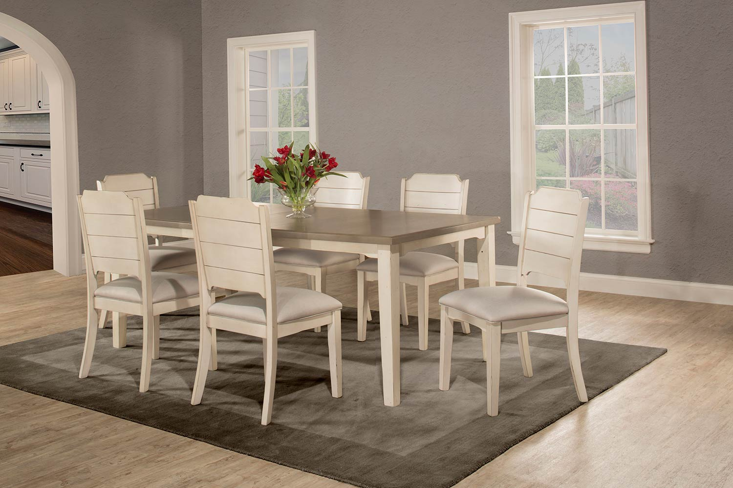 Hillsdale Clarion 7-Piece Rectangle Dining Set with Side Chairs - Sea White - Fog Fabric