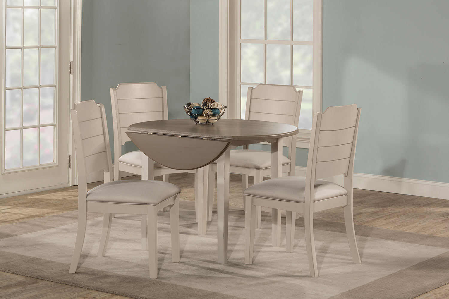 Hillsdale Clarion Round Dining Set - Gray/White