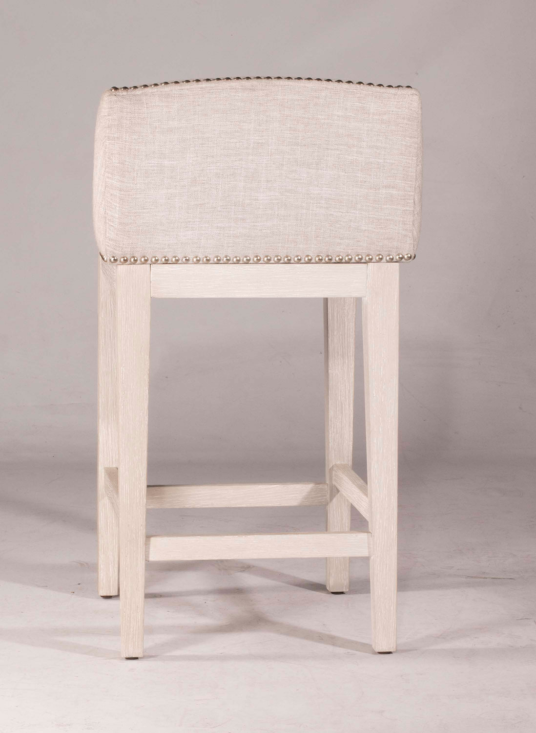 Hillsdale Bronn Non-Swivel Bar Stool - White Wirebrush - Silver Fabric