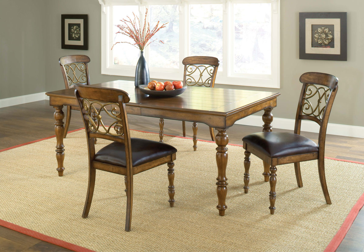 Hillsdale Bergamo Dining Set A - Weathered Brown