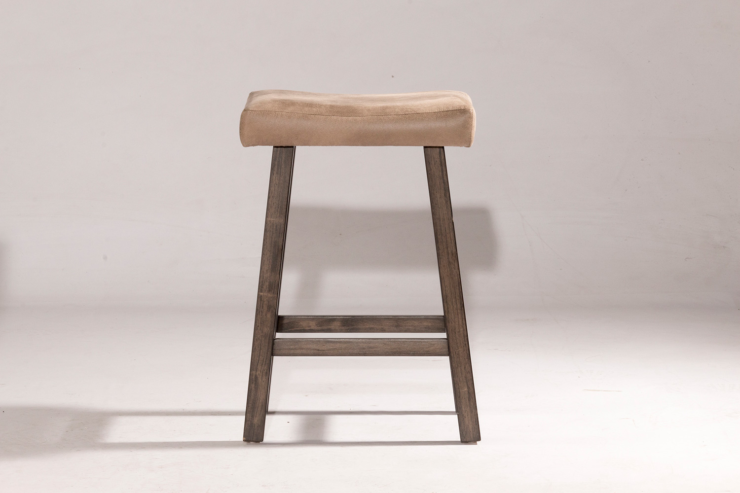 Hillsdale Saddle Non-Swivel Backless Bar Stool - Gray - Taupe Faux Leather
