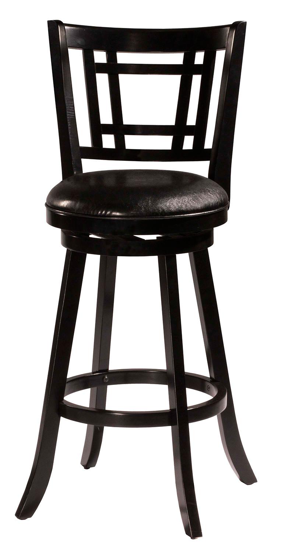 Hillsdale Fairfox Swivel Bar Stool - Black Faux Leather
