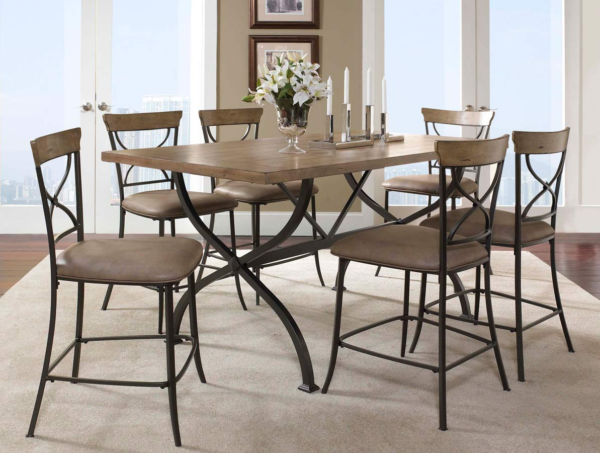 Hillsdale Charleston Rectangular Counter Height Dining Set With X-Back Stool