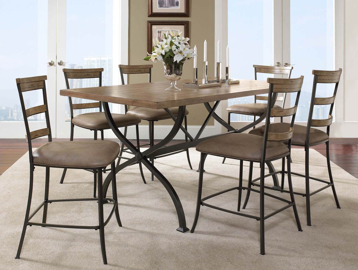 Hillsdale Charleston Rectangular Counter Height Dining Set With Ladder Back Stool