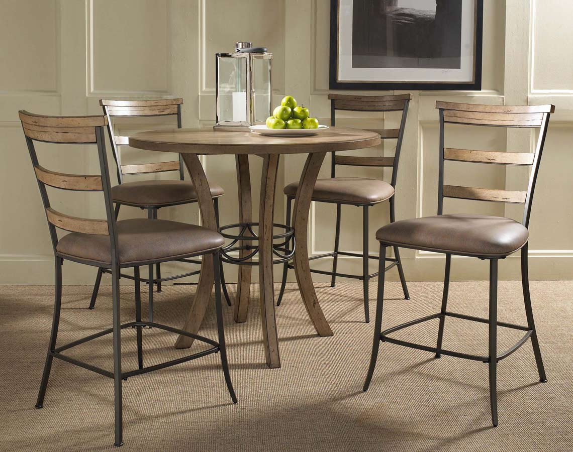 Hillsdale Charleston Round Counter Height Dining Set With Ladder Back Stool