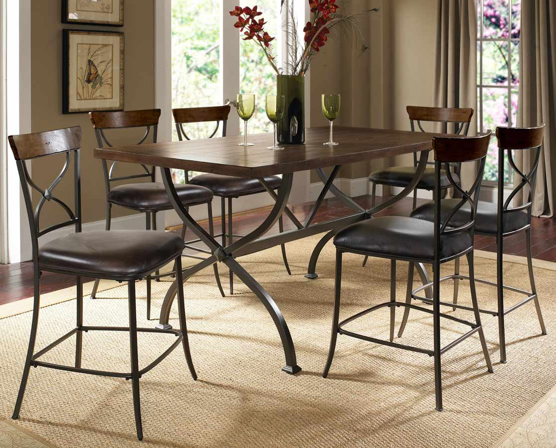 Hillsdale Cameron Rectangular Counter Height Dining Set With X-Back Stool