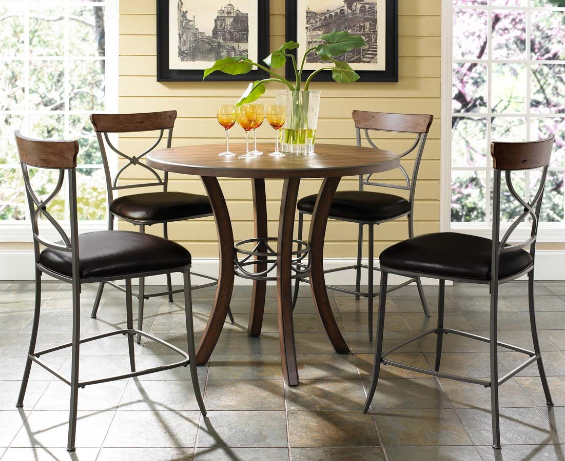 Hillsdale Cameron Counter Height Round Dining Set With X-Back Stool