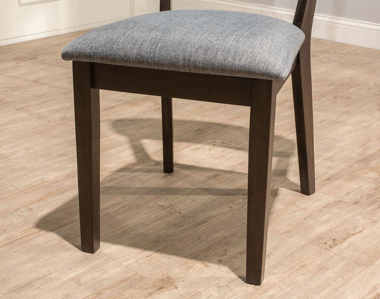 Hillsdale San Marino Midmod Dining Side Chair - Chestnut/Gray Fabric- Set of 2