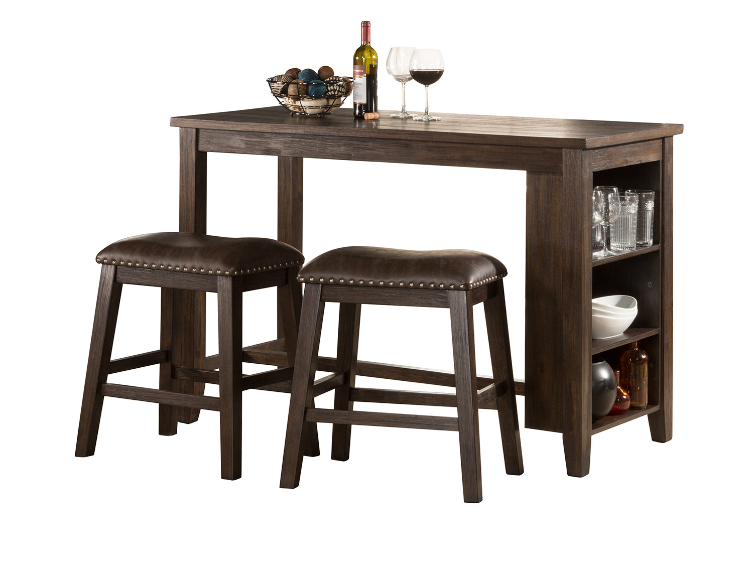 Hillsdale Spencer 3 Piece Counter Height Dining Set with Backless Counter Height Stools - Dark Espresso