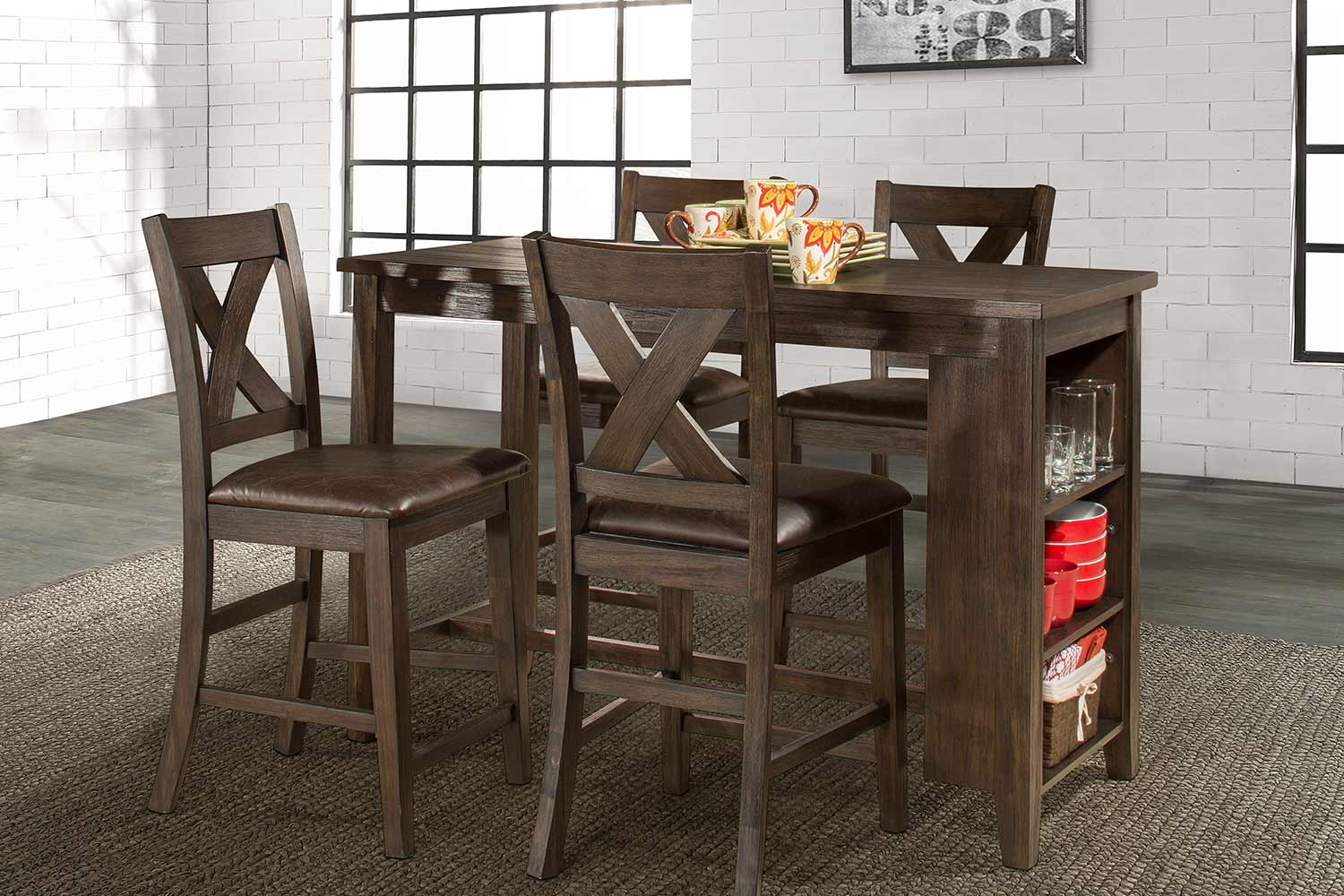 Hillsdale Spencer 5 Piece Counter Height Dining Set with X-Back Counter Height Stools - Dark Espresso