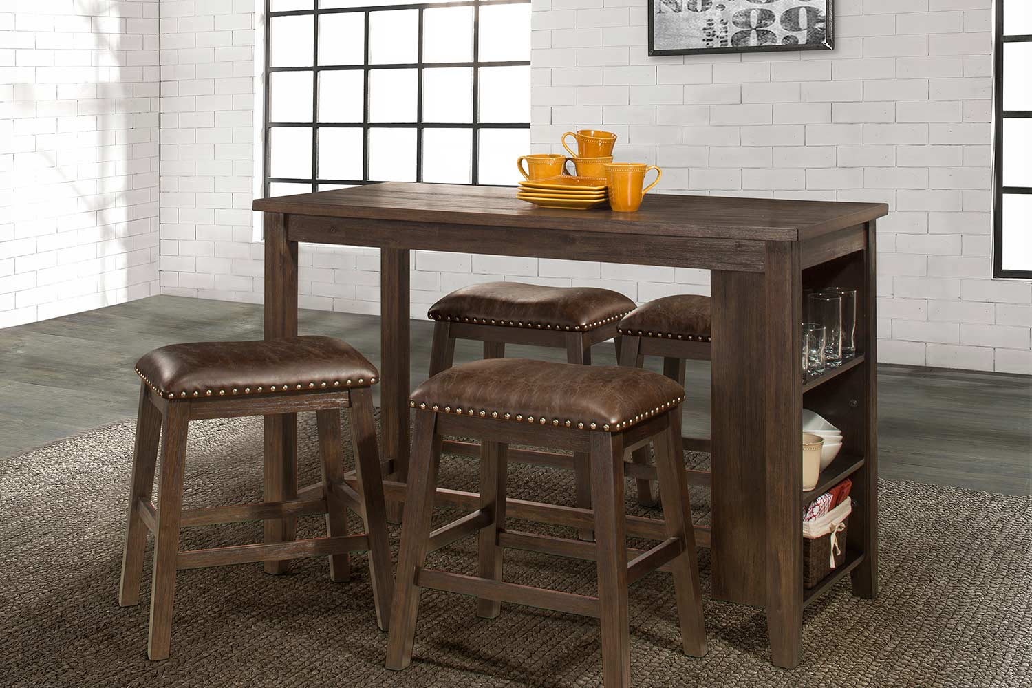 Hillsdale Spencer 5 Piece Counter Height Dining Set with Backless Counter Height Stools - Dark Espresso