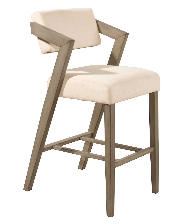 Hillsdale Snyder Non-Swivel Counter Stool - Aged Gray - Ecru Fabric