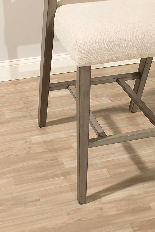 Hillsdale Snyder Non-Swivel Bar Stool - Aged Gray - Ecru Fabric