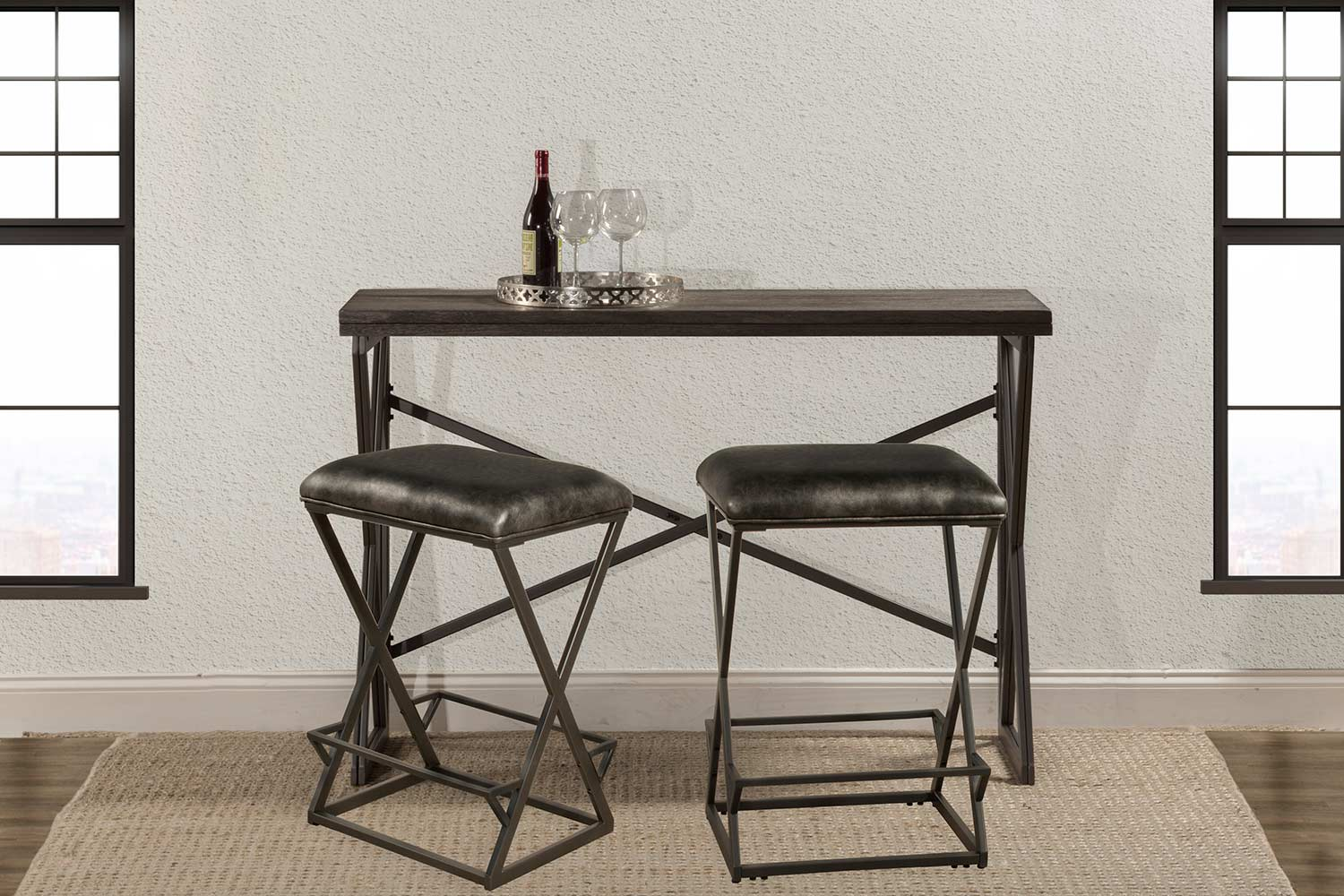 Hillsdale East Glenn 3 Piece Counter Height Dining Set With 2 Kenwell  Stools   Charcoal