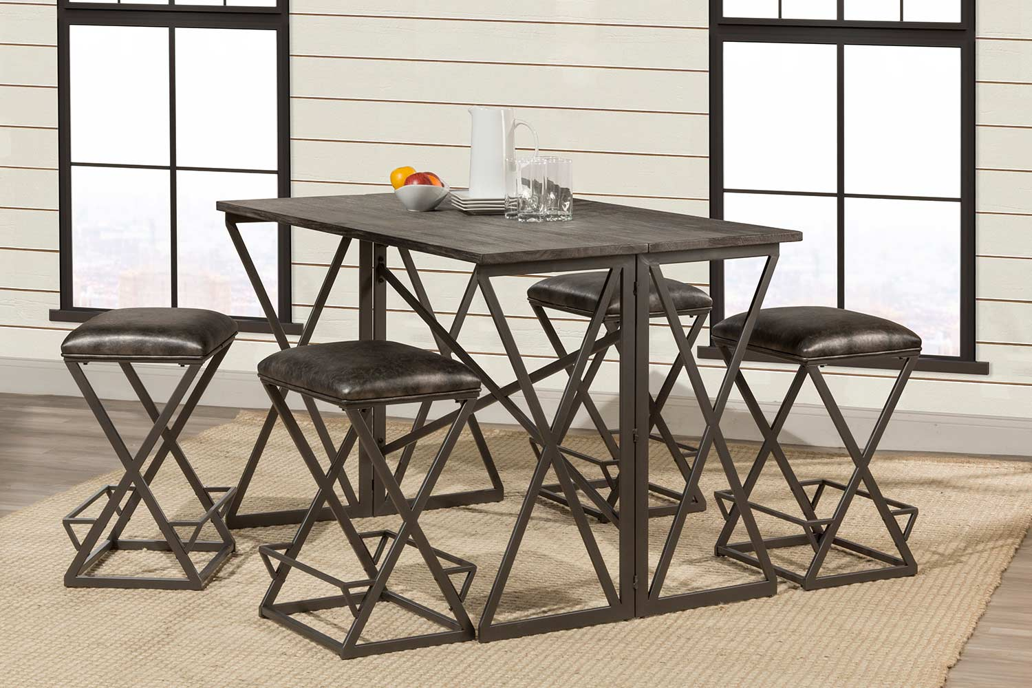 Hillsdale East Glenn 5-Piece Counter Height Dining Set with 4 Kenwell Stools - Charcoal