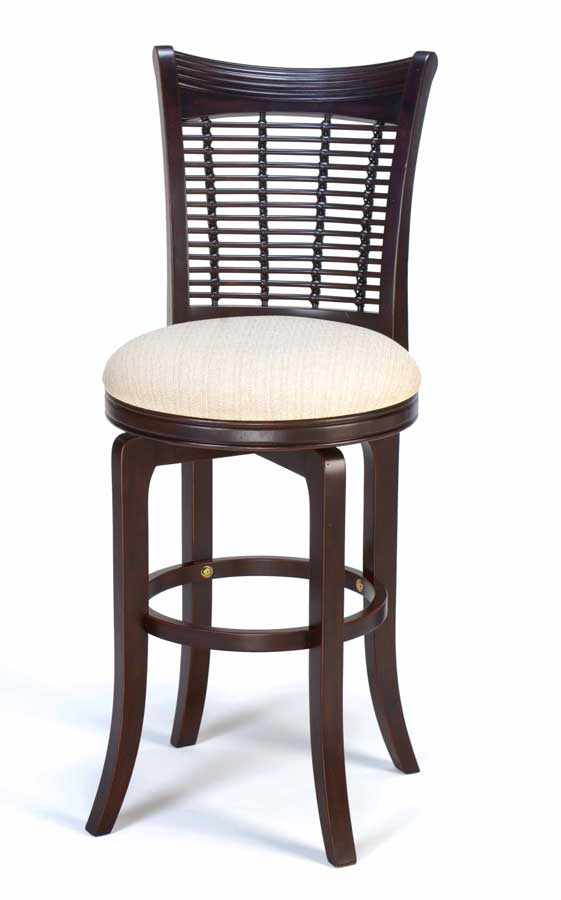 Hillsdale Bayberry Wicker Swivel Wood Bar Stool - Dark Cherry