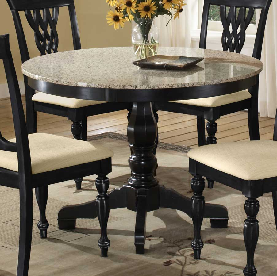 Hillsdale embassy round pedestal table with granite top hd for Black kitchen table set