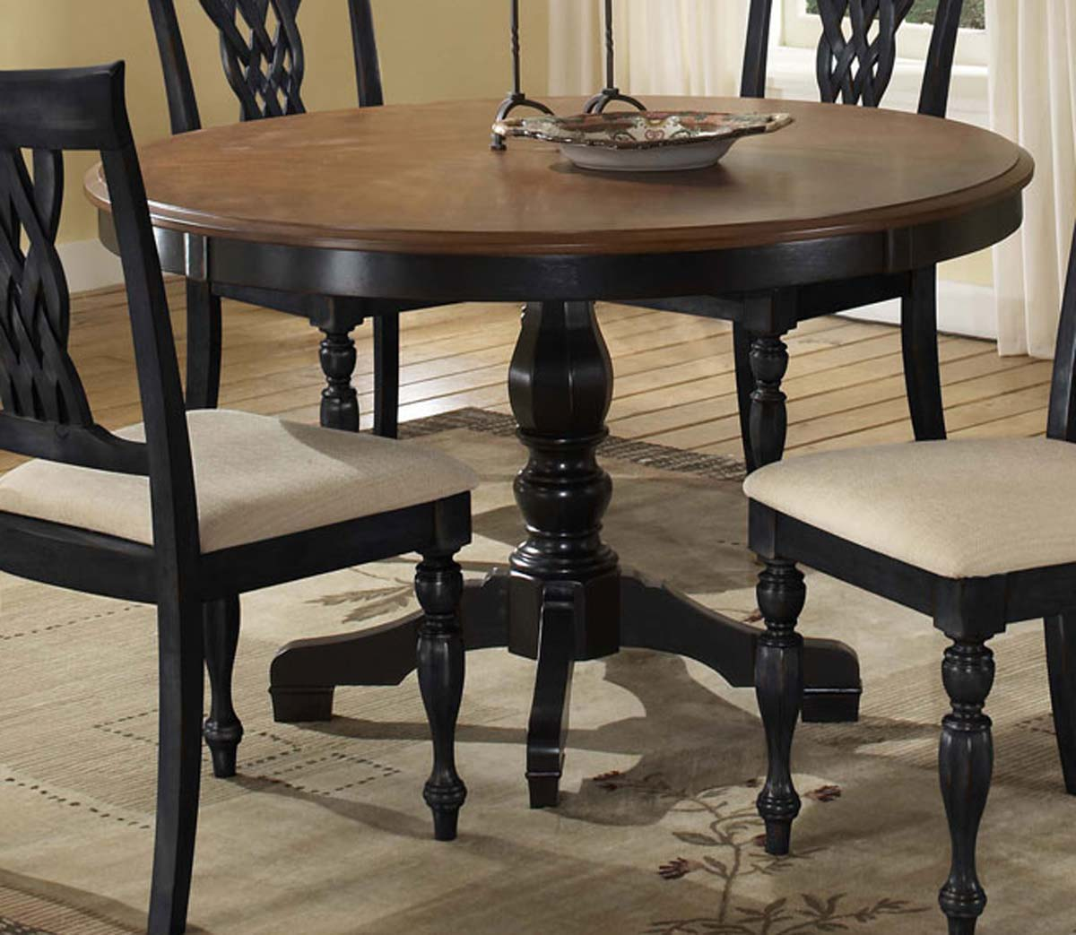 Hillsdale Embassy 5 Piece Dining Set - Rubbed Black & Cherry
