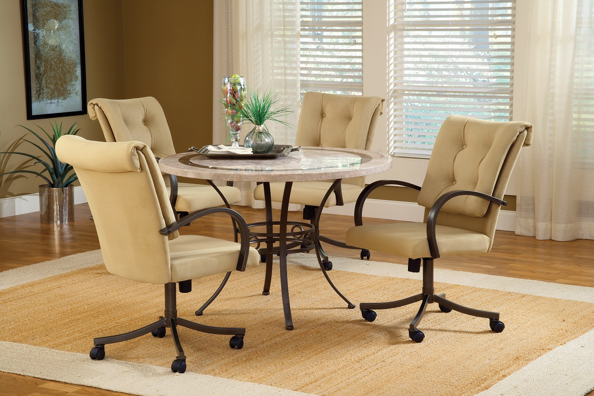 Hillsdale Harbour Point 5Pc Round Dining Set with Caster Chair - Golden Bronze