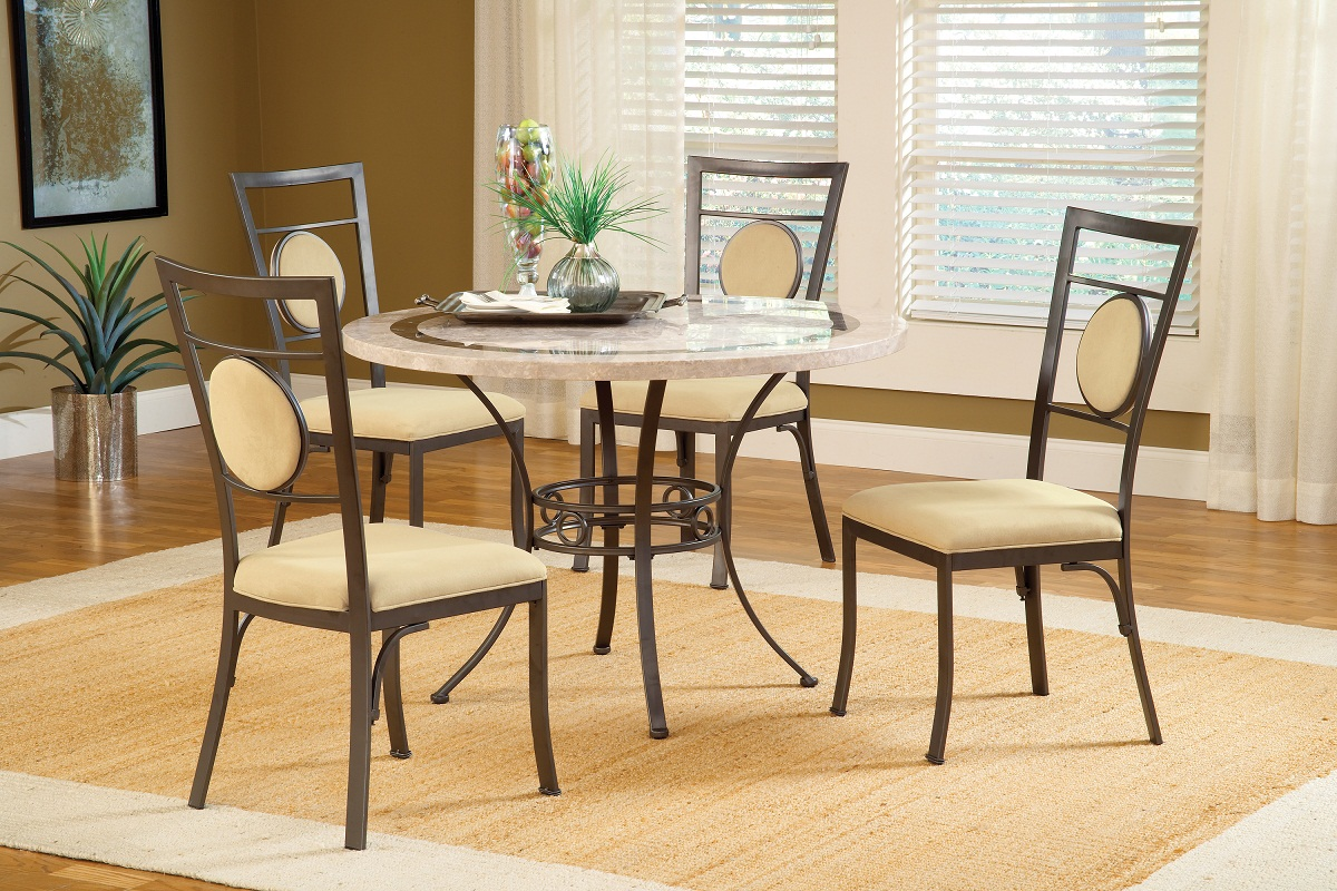 Hillsdale Harbour Point 5Pc Round Dining Set with Metal Oval Chair - Golden Bronze