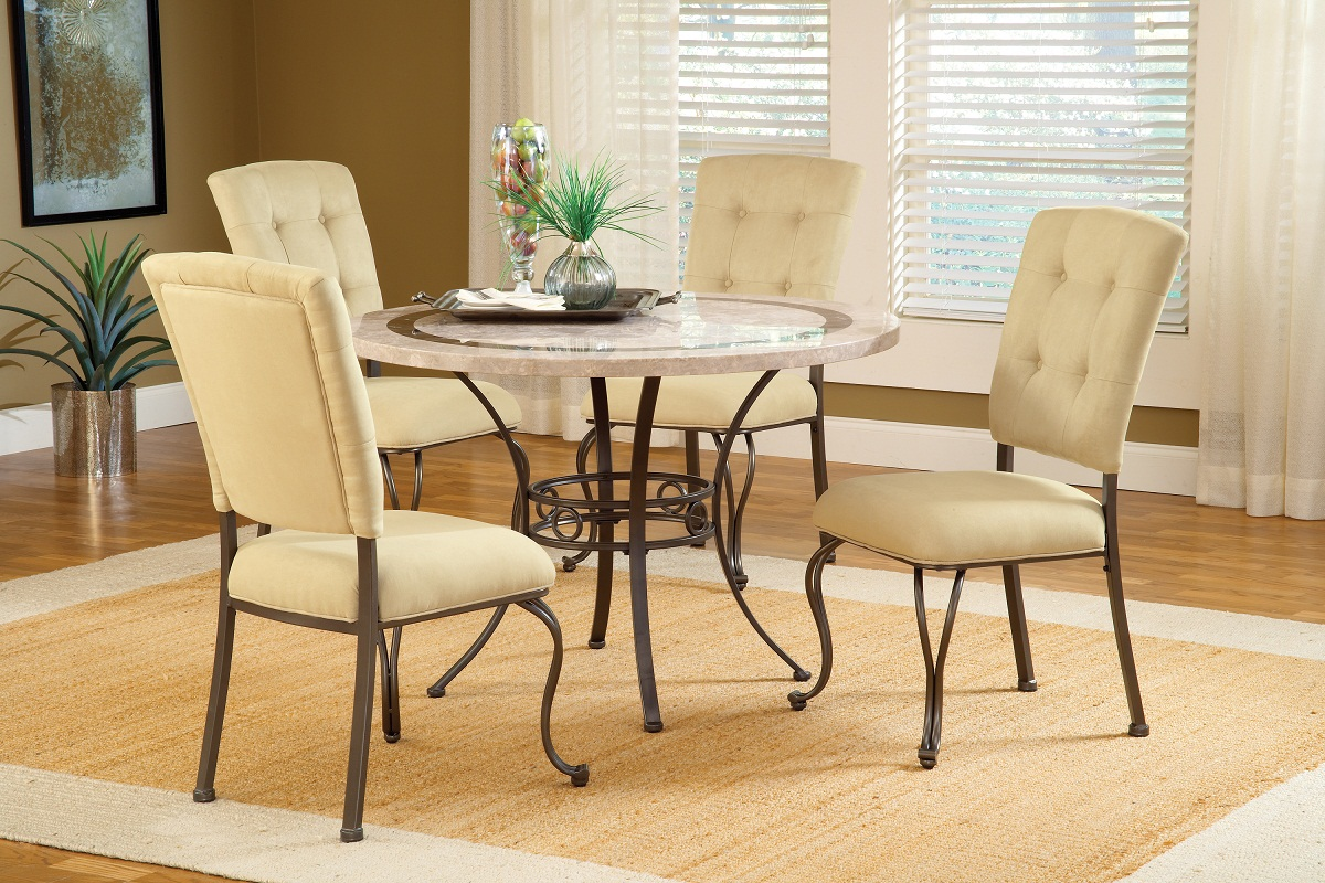 Hillsdale Harbour Point 5Pc Round Dining Set with Parson Chair - Golden Bronze