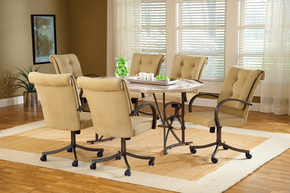 Hillsdale Harbour Point 7Pc Octagon Dining Set with Caster Chair - Golden Bronze