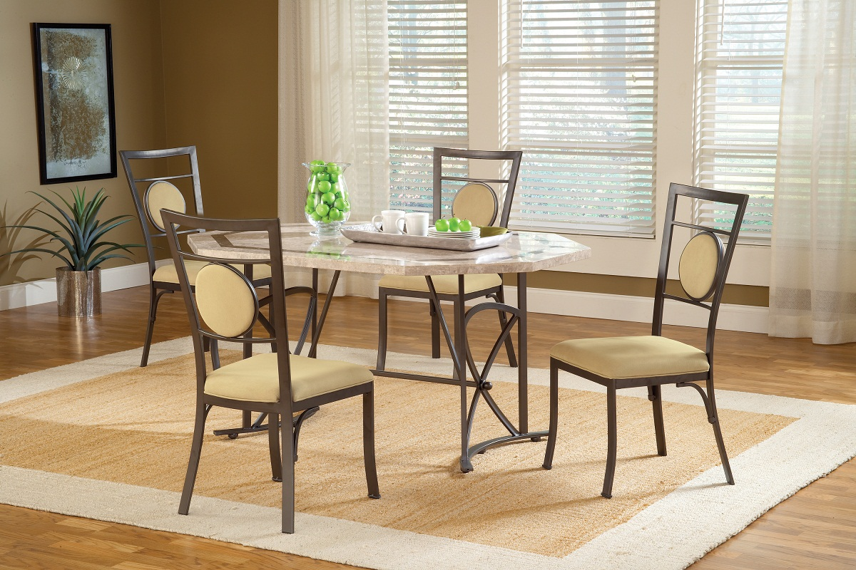 Hillsdale Harbour Point 5Pc Octagon Dining Set with Metal Oval Chair - Golden Bronze