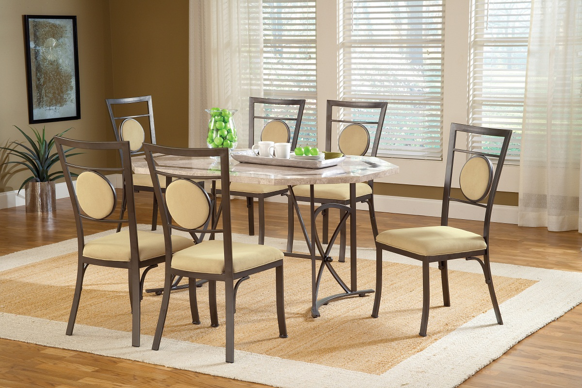 Hillsdale Harbour Point 7Pc Octagon Dining Set with Metal Oval Chair - Golden Bronze